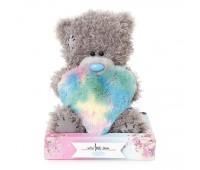 Ведмедик Тедди MTY  з плюшевим різнокольоровим серцем