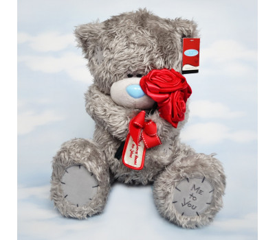 Мишка Тедди с букетом роз - 41 см.