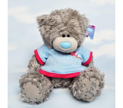 Тедди в голубой футболке Happy Birthday