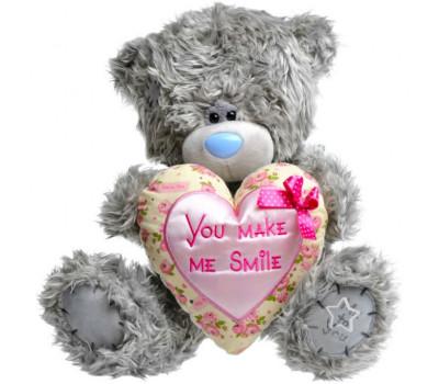 Мишка Тедди с розовым серцем You make me smile