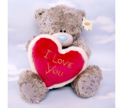 Мишка Тедди с темно-бордовым сердцем I Love You
