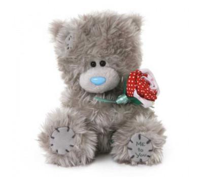 Мишка Тедди с красно-белой розой