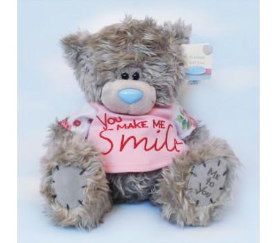 Мишка Тедди в розовой маечке You make me smile