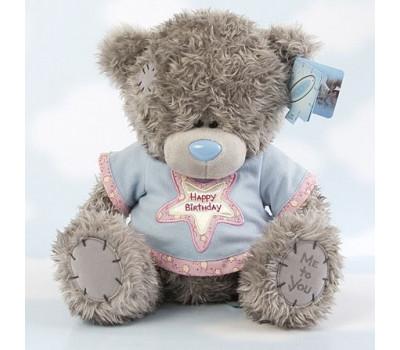 Мишка Тедди в маечке Happy Birthday со звездой