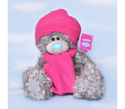 Тедди в розовой шапочке и шарфе 20 см.