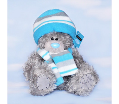 Мишка Тедди в голубом беретике и шарфе 20 см.