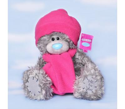 Тедди MeToYou в розовой шапке и шарфе