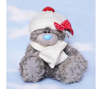 Тедди MeToYou в зимней белой шапке и шарфе