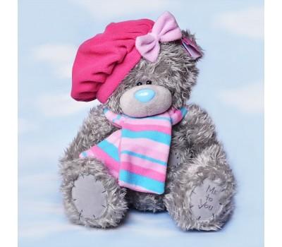 Ведмедик Тедді в рожевому береті й шарфі