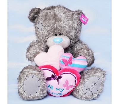 Большой медведь Тедди с сердцами All My love