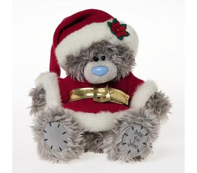 Мишка в праздничной коробке в костюме Деда Мороза