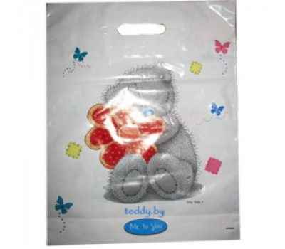 Пакет пластиковый большой - мишка MTY с цветочком