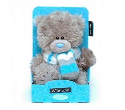 Мишка Тедди MTY в шарфе в голубую полоску