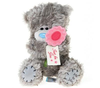 Мишка Тедди держит цветок JUST FOR YOU