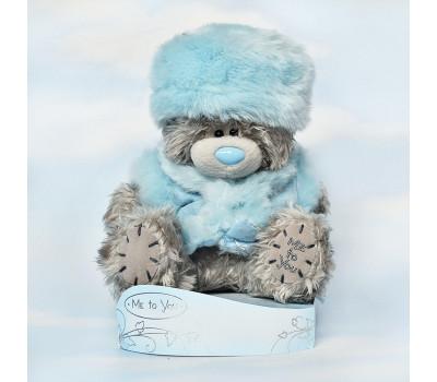Мишка Тедди в голубой шубке