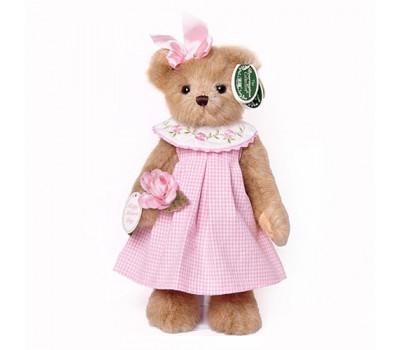 Мишка Беррингтон в розовом платье с розочкой на лапке