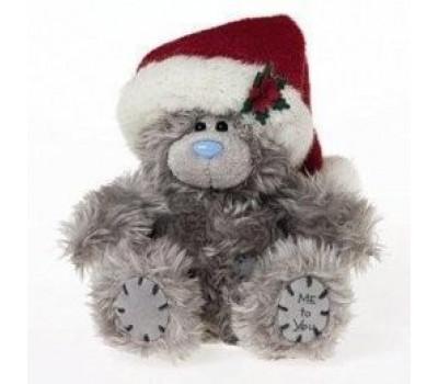 Мишка Тедди в новогодней шапочке 13 см.