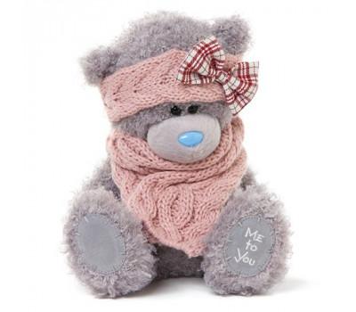 Мишка Тедди MTY  в розовом шарфе на голове