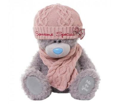Мишка Тедди MTY  в розовой шапке и шарфе