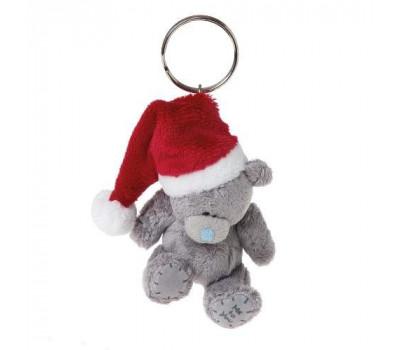 Брелок для ключей - плюшевый мишка в шапке Деда Мороза