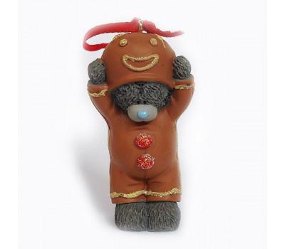 Ёлочное украшение- Мишка в коричневом комбинезончике