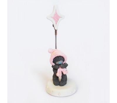 Держатель для фото- мишки Тедди в розовой шапке