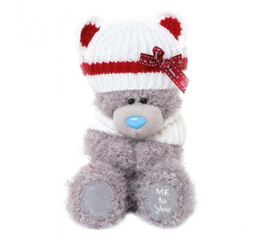 Мишка Тедди  в шапке с красными ушками