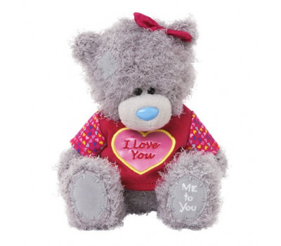 Мишка Тедди в футболке с надписью I LOVE YOU