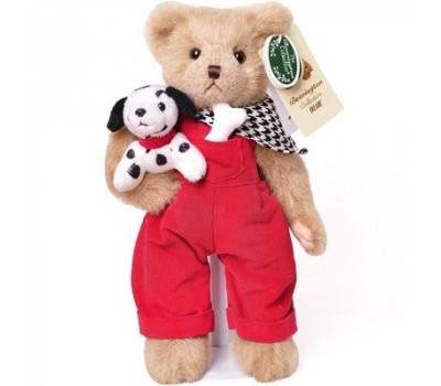 Мишка Bearington в комбинезоне, шейном платке и с собакой в лапе