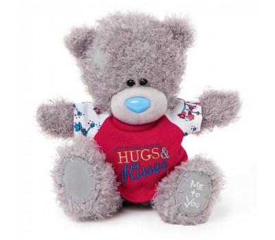 Мишка Тедди MeToYou в майке Hugs and Kisses