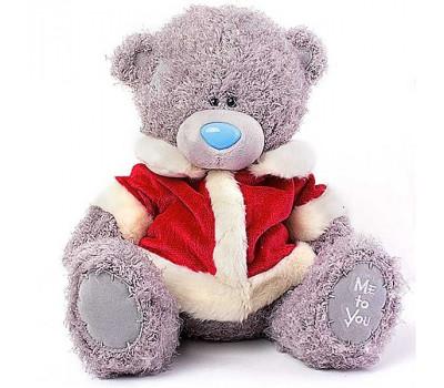 Ведмедик Тедді в новорічній шубці Діда Мороза