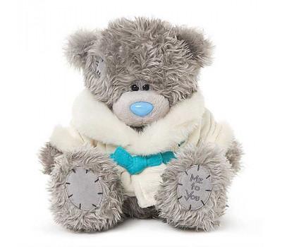 Мишка Тедди в белой шубке с поясом