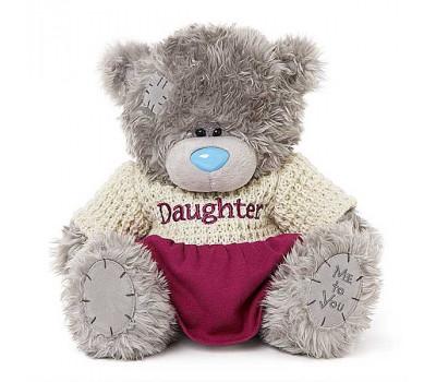 Ведмедик Тедді-дівчинка в бежево-малиновій сукні