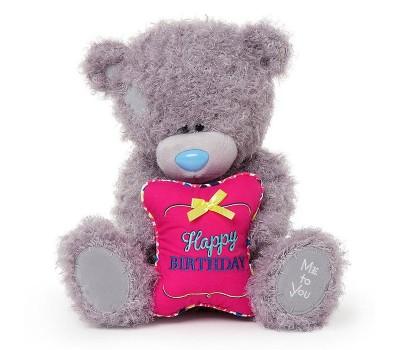 Ведмедик Тедді з подушкою Happy Birthday
