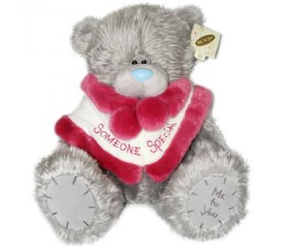 Медведь Тедди в меховой накидке Санты