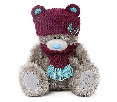Мишка Тедди MTY  в шапочке с ушками и шарфике