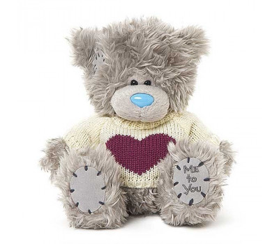 Мишка Тедди MTY в белом свитере с бордовым сердцем