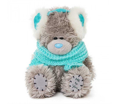 Мишка Тедди MTY  в наушниках и голубом шарфике