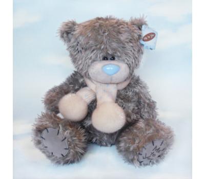 Мишка Тедди в белом шарфе 25 см.