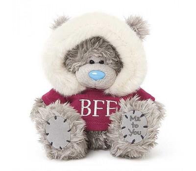 Мишка Тедди в красной кофте с капюшоном BFF