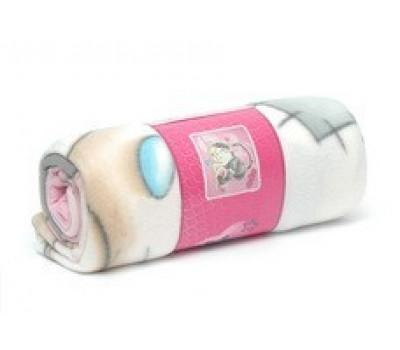 Пледик нежно-розовый с друзьями мишки Тедди