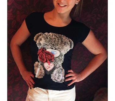 Темно-синяя футболка-майка с мишкой Тедди Me To You