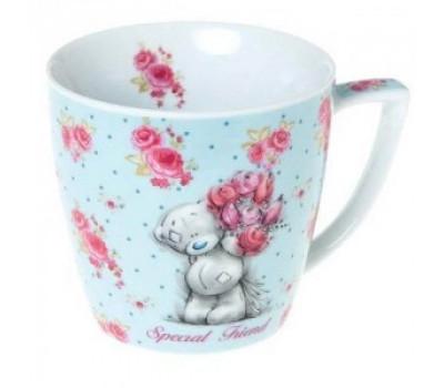 Чашка metoyou голубая в цветочках