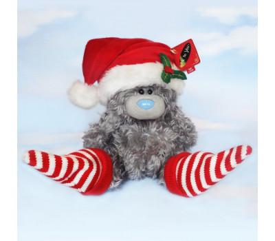 Новогодний мишка Тедди в шапочке и носочках