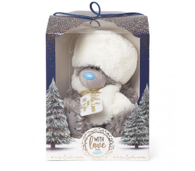 Мишка Тедди MTY в зимней шапке и шарфе в подарочной коробке
